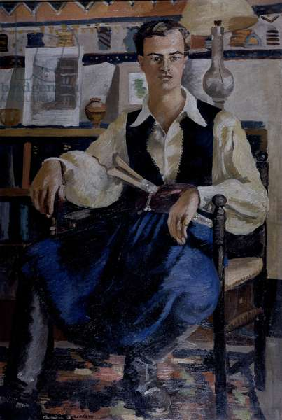 Portrait of Sir Patrick Leigh Fermor (oil on canvas)