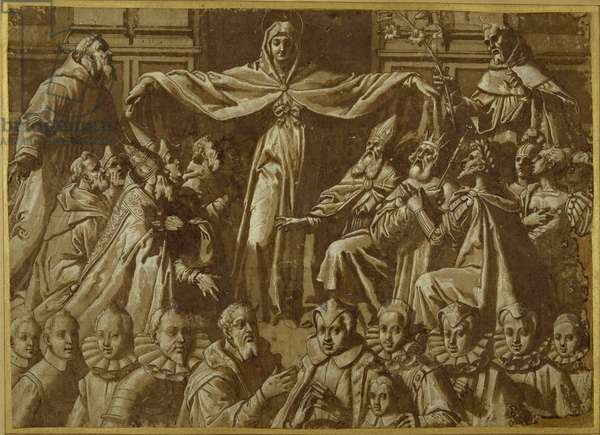 The Madonna della Misericordia with Sts. Francis and Dominic, with other saints and rulers and a family of donors (pen & brown ink with wash and white body colour on paper)