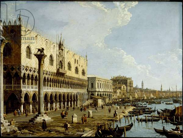Venice: a view of the Doge's Palace and the Riva degli Schiavoni from the Piazzetta, c.1729 (oil on copper panel)
