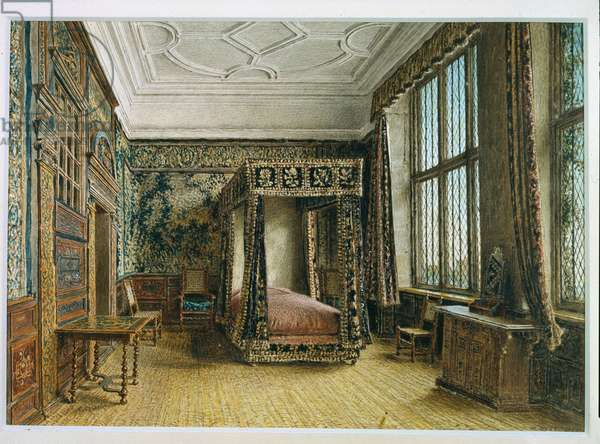 Mary, Queen of Scots' Room at Hardwick, 1820s (w/c on paper)