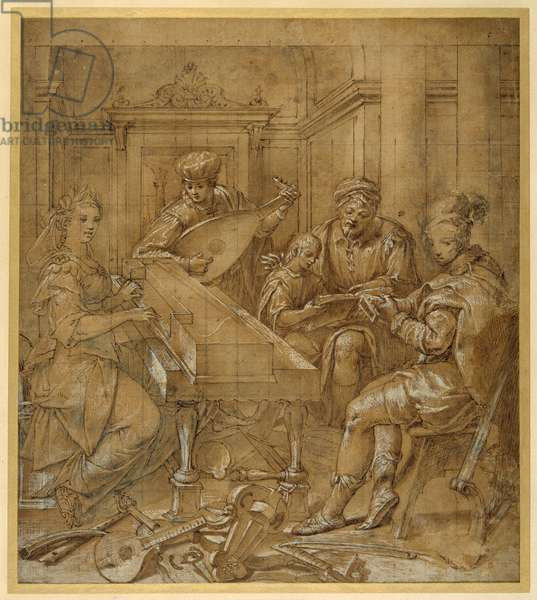 An allegory of music: Fame at the virginals; two young lutenists seated; a bearded elder teaches a boy to follow a score (pen & brown ink with body colour and black chalk on paper)