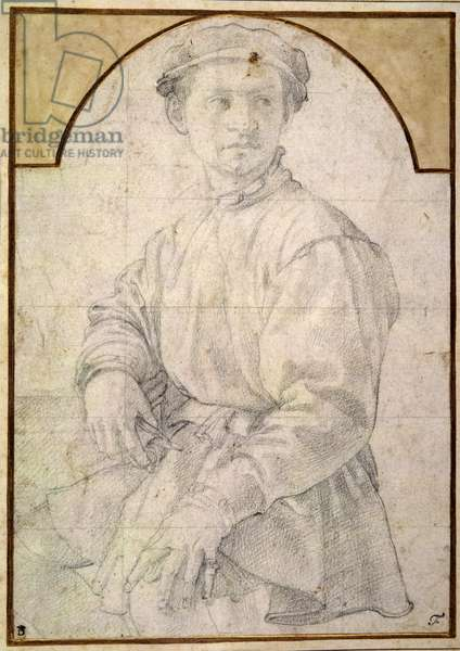 A seated youth wearing a cap (chalk on paper)