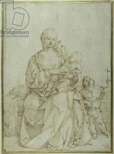 Virgin and Child with infant St John, c.1518 (pen & ink on paper)