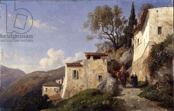 On the Genoa road, near Nice, 1842 (oil on canvas)