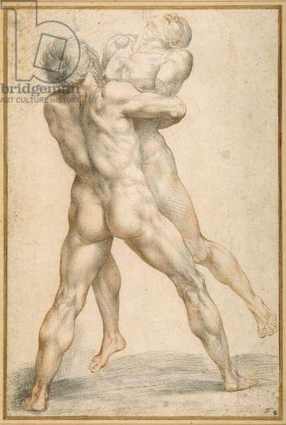 Hercules wrestling with Antaeus (black & red chalks on white paper)