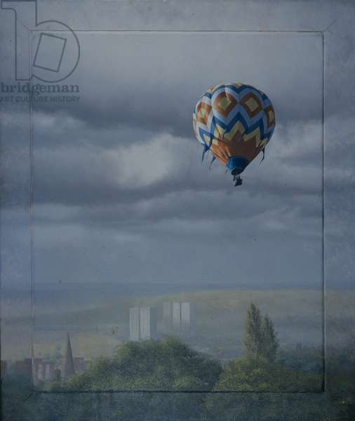 Balloon Over Sheffield (oil on canvas)