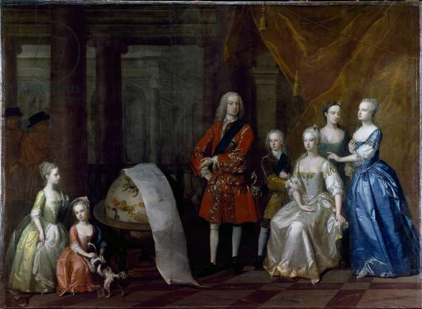 Group portrait of Frederick, Prince of Wales, with his brother the Duke of Cumberland and their five sisters, 1730 (oil on canvas)
