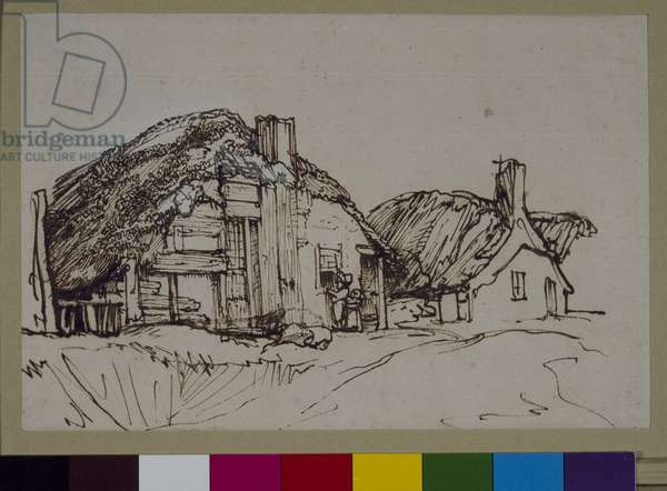 Two thatched cottages with figures at the window, c.1640 (pen & ink on paper)