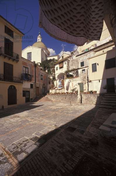 Street corner of Cetara, Amalfi coast, Campania, Italy.