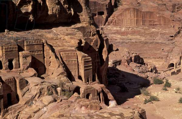 Tombs and theatre, Petra, Jordan, Middle East