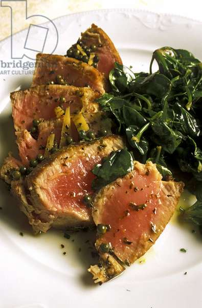 Tuna chateaubriand with spinach, Turin, Piedmont, Italy