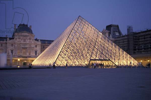 The Louvre Museum and the Louvre Pyramid, Paris, France, Europe Mention: Pyramid du Louvre. Architect: Ieoh Ming Pei. Contact the Louvre Museum, Communication Service. Tel.: 01.40.20.67.35