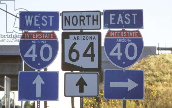 Road sign, Arizona, United States of America, North America