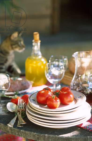A plate with tomatoes, Italy