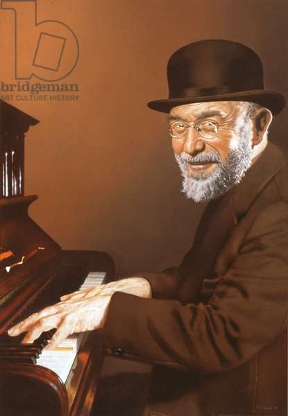 M. Satie at the Piano, 1997 (pastel on paper)