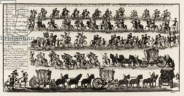 CHARLES III (1716-1788). King of Spain (1759-1788) and Naples (1734-1759). Spain (1759). Retinue in the city of Valencia for the proclamation of Charles III. Engraving. SPAIN. MADRID (AUTONOMOUS COMMUNITY). Madrid. National Library