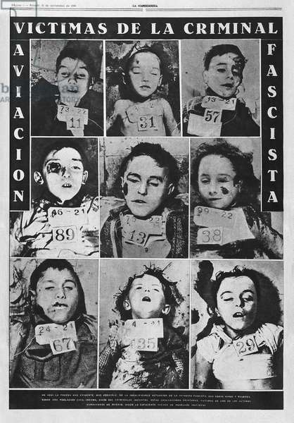 "Children killed during bombing in Madrid, published in La Vanguardia, 1936 - Spanish Civil War (1936-1939). Children killed in a bombardment over Madrid. Photo published in """" La Vanguardia"""" (21st November 1936). Photography"