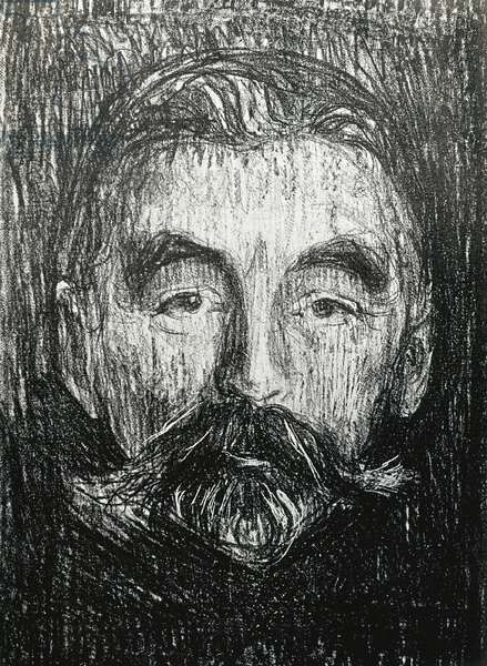 MUNCH, Edvard (1883-1944). Portrait of Stephane Mallarme. 1896. MALLARME, Stephane (1842-1898). English symbolist poet. Litography. SPAIN. CATALONIA. Barcelona. Biblioteca de Catalunya (National Library of Catalonia)