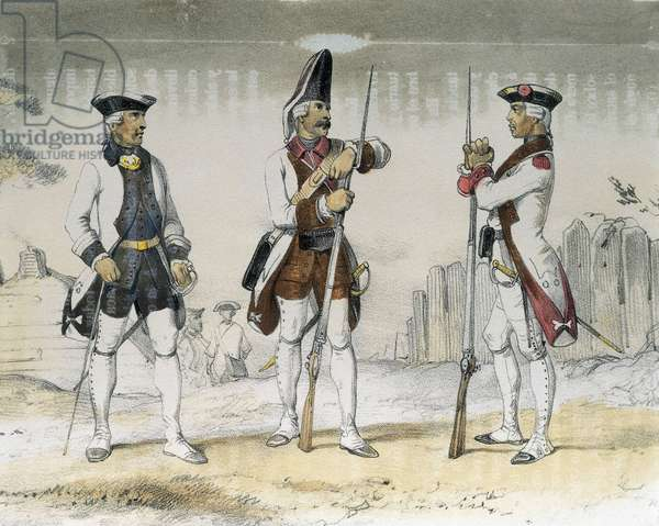 DE SOTTO, Serafin Maria, Earl of Clonard (1793 - 1862). Historia organica de las armas de Infanteria y Caballeria espanolas. 1851 - 1859. Infantrymen during the reign of Charles III of Spain. Colonel, Grenadier and Sergeant (1769). Litography. SPAIN. ARAGON. Zaragoza. General Military Academy