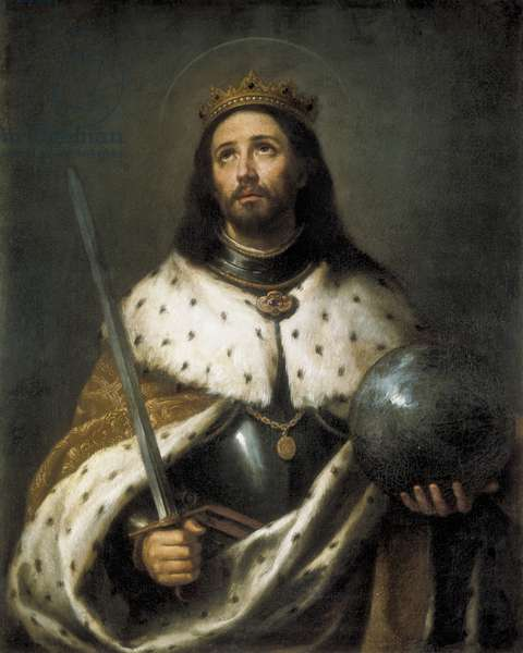 Ferdinand III, Saint Ferdinand of Castile (1201-1252). King of Castile (1217-1252) and Leon (1230-1252). Saint Ferdinand. MURILLO, Bartolome Esteban (1617-1682). Baroque art. Oil on canvas. SPAIN. ANDALUSIA. Sevilla. Colombina and Capitular Library (Columbus and Cathedral Library)
