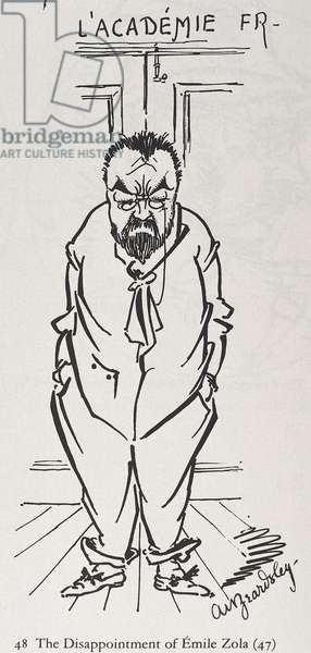 BEARDSLEY, Aubrey Vincent (1872-1898). The Disappointment of Emile Zola. 1880s. Cartoon of Emile Zola. Engraving
