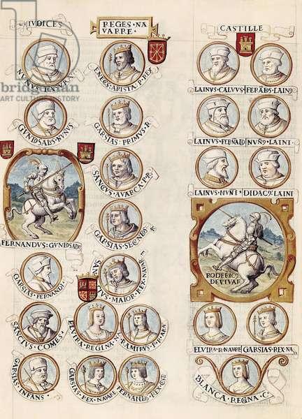 "Genealogy of the kings of Spain: Rodrigo (Ruy) Diaz de Vivar, known as the Cid; Ferdinand Gonzalez (910-970); Ferdinand I, known as the Great (1016-1035); Ramire I (1006-1063); Sanche III Garces, known as the Great (990-1035); White of Navarre (after 1133-1156), Sanche II Re, dit Abarca (935-994); CARTAGENA, Alonso de (1384-1456). (left column:) Nuno Rasura (Muno Rasuella) (ca. 789-862), Gonzalo Nunez de Lara (1059-1106), Fernando Gonzalez (910-970), Garcia I Fernandez (938-995), Sanche I Garciez (965-1017), Garcia Sanchez (1009-1028). (Right column:) kings of Navarre: Eneko Aritza (790-852), Garcia I (810-870), Sancho I (860-925), Garcia II (919-970), Sancho III Garces, said the Great (died 1035), Queen Elvira, Ramire I of Aragon (1007-1063), Garcia IV said the Great (1020-1054), Ferdino I said the Great (1016-1065), (last column genealogy of the Cid) - Genealogia de los Reyes de Espana. 1463. CID, Rodrigo Diaz de Vivar, called The (1043-1099). FERNAN GONZALEZ, Count of Castile; Ferdinand I the Great, King of Castile and Leon; RAMIRO I of Aragon, King of Aragon; Sancho III Garces, King of Pamplona; BLANCA of Navarra, Queen of Castile; Sancho II Garces, King of Navarra. On the left: Nuno Rasura; Counts of Castile Gonzalo Nunez, Fernan Gonzalez, Garcia Fernandez, Sancho Garcia and Infant Garcia Sanchez. Second column: Kings of Navarre: Inigo Arista, Garcia I Iniguez, Sancho Garces I, Garcia Sanchez I, Sancho Garces III """" El Mayor"""", his wife Elvira, his sons Ramiro I of Aragon, Garcia Sanchez III of Pamplona and Ferdinand I """" the Great"""" of Castile and Leon. Right: legendary genealogy and succession of Rodrigo Diaz de Vivar: Judge of Castile Lain Calvo, Fernando Lainez, Lain Fernandez, Nuno Lainez, Lain Nunez and Diego Lainez. Under the Cid (center), Elvira (or Cristina) Rodriguez, Garcia Ramirez """" the Restorer"""" King of Pamplona (1134-1150) and Blanca Garces of Navarre (1137-1156). Miniature Painting. Madrid. National Library"