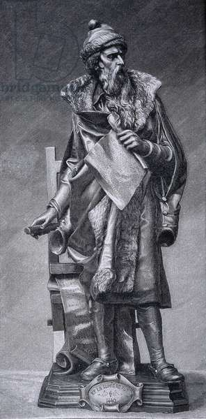 Gutenberg, Johannes Gensfleich (c.1400-1468). German printer, inventor of the printing press. Reproduction of a sculpture by Juan Maria Danielli. Engraving of 1894. Engraving.