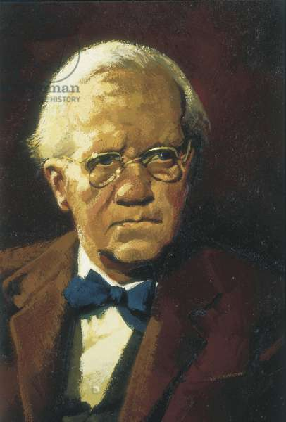 FLEMING, Alexander (1881-1955). British microbiologist, discoverer of the penicillin. Nobel Prize in 1945. Alexander Fleming. Oil on canvas. Private Collection
