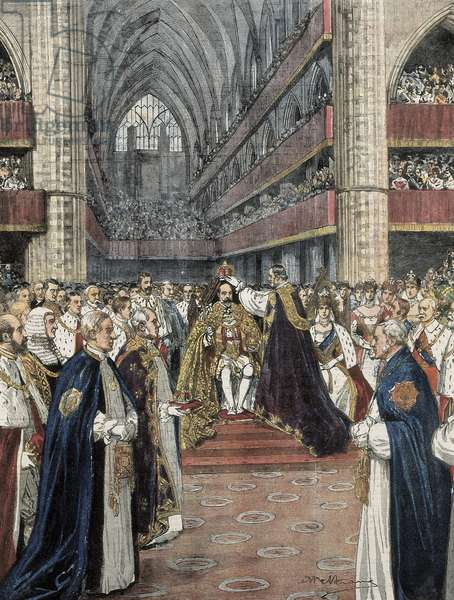 United Kingdom (1901). Coronation of Edward VII in the Westminster Abbey. Illustration by Achille Beltrame published in Domenica del Corriere. Engraving.