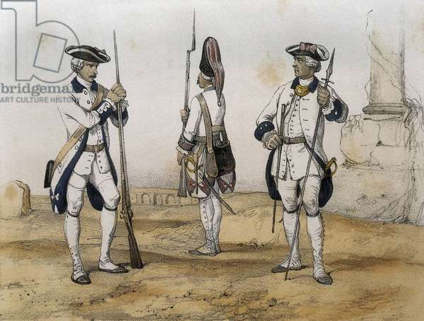 DE SOTTO, Serafin Maria, Earl of Clonard (1793 - 1862). Historia organica de las armas de Infanteria y Caballeria espanolas. 1851 - 1859. Line Infantrymen during the reign of Charles III of Spain. Rifleman (1775), grenadier (1779) and Colonel. Engraving. SPAIN. ARAGON. Zaragoza. General Military Academy