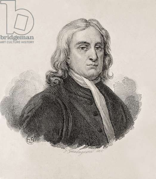 """Newton, Sir Isaac (1642-1727). English mathematician, physicist and astronomer.; GUADAGNINI, Gaetano (1800-1860). Italian engrave. Portrait of Isaac Newton, work by Gaetano Guadagnini. Engraving. ITALY. LOMBARDY. Milan. Civica Raccolta delle Stampe """""""" Achille Bertarelli"""""""" (Achille Bertarelli collection of prints)"""