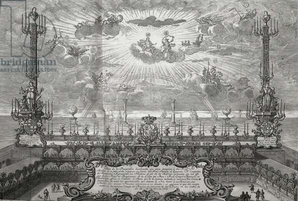 CHARLES III (1716-1788). King of Spain (1759-1788) and Naples (1734-1759). Spain (1759). Royal Palace of Barcelona illuminated on the occasion of the arrival of Charles III and Maria Amalia of Saxony. Engraving by Ignacio Valls. Etching. SPAIN. MADRID (AUTONOMOUS COMMUNITY). Madrid. National Library