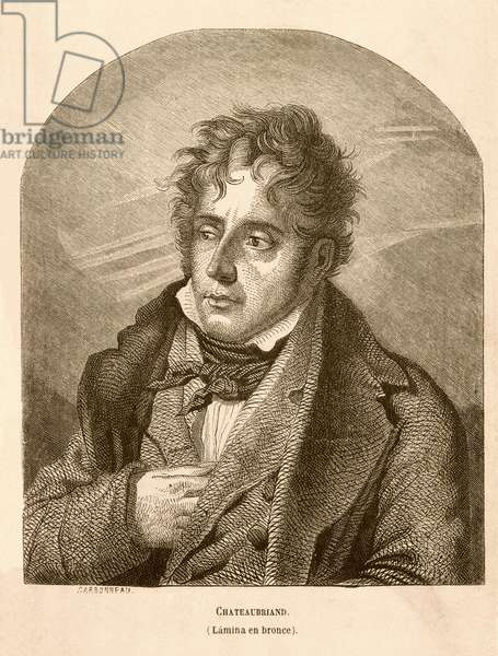 CHATEAUBRIAND, Francois-Auguste-Rene, Viscount of (1768-1848). English Romantic writer. Portrait of Chateaubriand. Etching. SPAIN. MADRID (AUTONOMOUS COMMUNITY). Madrid. National Library