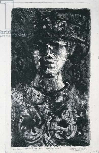 Girl with a hat, 20th century (engraving)