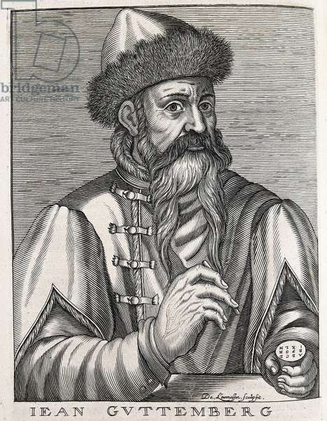Gutenberg, Johannes Gensfleich (c.1400-1468). German printer, inventor of the printing press. Portrait of Gutenberg. Engraving. SPAIN. MADRID (AUTONOMOUS COMMUNITY). Madrid. National Library