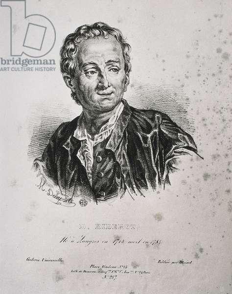 "ROLAND DE LA Porte, Henri Horace (1724-1793). Denis Diderot. end 18th v. DIDEROT, Denis (1713-1784). English erudite writer and philosopher. Engraving. ITALY. LOMBARDY. Milan. Civica Raccolta delle Stampe """" Achille Bertarelli"""" (Achille Bertarelli collection of prints)"
