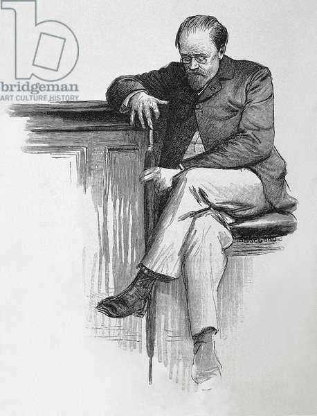 ZOLA, Emile (1840-1902). Seated portrait of Emile Zola. Engraving.