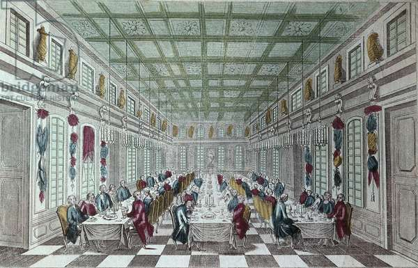 LOUIS XV of France (1710-1774). King of France (1715-1774). Feast given at the Chateau de Versailles in celebration of the Peace at the end of the Seven Years War, 1763. Engraving. FRANCE. ILE-DE-FRANCE. Paris. National Library