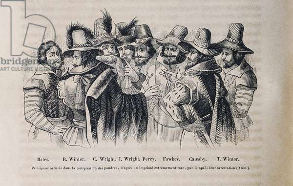 """Gunpowder Plot (1604-1605). Plot organized by a group of English Catholics to kill King James I and the Protestant aristocrats blowing up the Houses of Parliament. Portrait of the conspirators Thomas Bates, Robert Winter, Christopher Wright, Thomas Percy, Guy Fawkes, Robert Catesby and Thomas Winter. English illustration after the 1606 engraving by Crispijn Van de Passe """""""" the Elder"""""""". Engraving."""