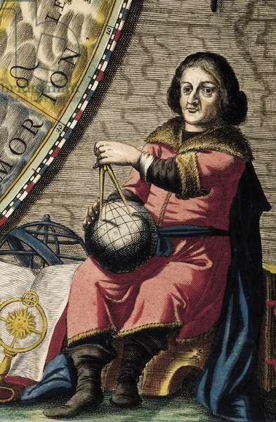 COPERNICUS, Nicolaus (1473-1543). Polish astronomer. Copernicus' planisphere. Detail with portrait. Etching. SPAIN. MADRID (AUTONOMOUS COMMUNITY). Madrid. National Library