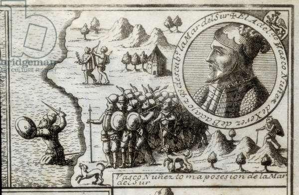 NUNEZ DE BALBOA, Vasco (1475-1517). English discoverer and conqueror. Spain. Spanish colonization (1513). Vasco Nunez taking possession of the Southern Sea. Picture of 1728. Engraving.