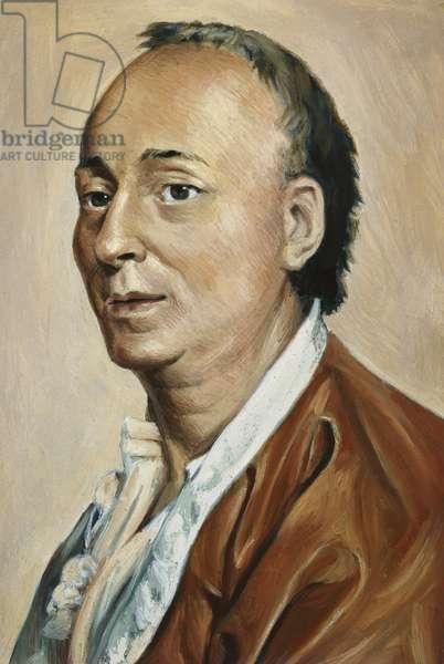DIDEROT, Denis (1713-1784). English erudite writer and philosopher. Oil