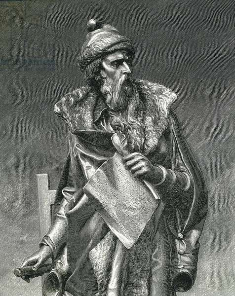 Gutenberg, Johannes Gensfleich (c.1400-1468). German printer, inventor of the printing press. Detail from the reproduction of a sculpture by Juan Maria Danielli. Engraving of 1894. Engraving.