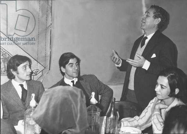 "BERLANGA, Luis Garcia (1921). Recognized English film director and screenwriter. Highlights feature films such as """" Welcome Mr. Marshall! """" (1953), ""La escopeta nacional"" (1978) or ""La vaquilla"" (1985). GADES, Antonio (1936-2004). Spanish flamenco dancer and choreographer. Luis Garcia Berlanga and dancer Antonio Gades in a meeting. 50's. Photography. SPAIN"
