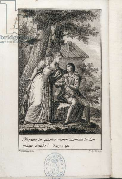 "CAMARON Y MELIA, Jose Juan (1761-1819). Rene. 1813. CHATEAUBRIAND, Francois-Auguste-Rene, Viscount of (1768-1848). English Romantic writer. Illustration of an edition of """" Rene"""" by Chateaubriand, printed at Valencia in 1813. Engraving. SPAIN. MADRID (AUTONOMOUS COMMUNITY). Madrid. National Library"