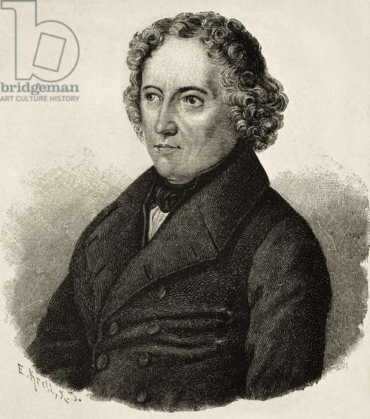 GRIMM, Jacob (1785-1863). German philologist and writer. Portrait of Jacob Grimm after an original drawing by Burggraf. Engraving.