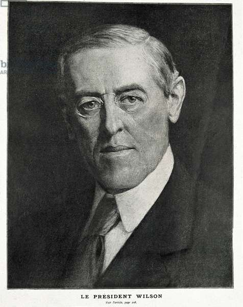 "Wilson, Woodrow (1856-1924). US President (1913-1921). Portrait published in the English magazine """" L'Illustration"""". Engraving. FRANCE. ILE-DE-FRANCE. Paris. National Library"