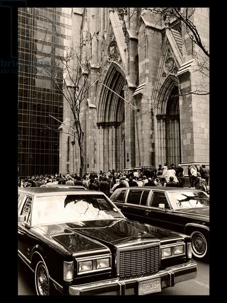 St. Patrick's Cathedral, Andy Warhol's Memorial, 1987 (b/w photo)