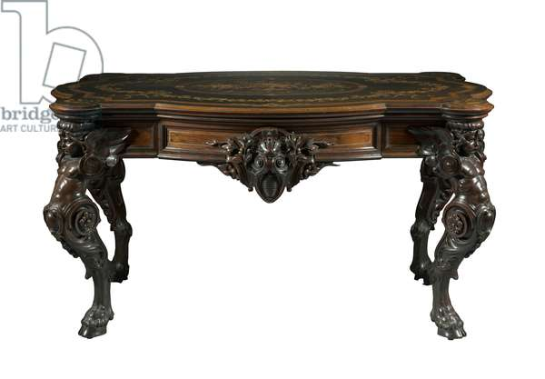 Center Table, Gustave Herter Firm, c.1860 (rosewood with marquetry of various woods, brass inlay and gilding)