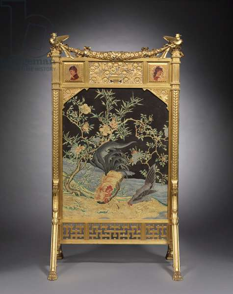 Fire Screen, Herter Brothers, c.1878-1880 (gilded wood, painted and gilded wood panels, brocaded silk, embossed paper)